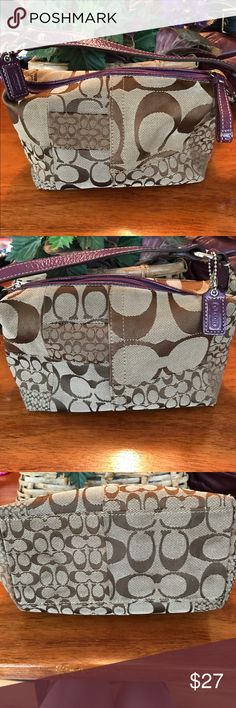 """Authentic Small Coach Handbag/Wristlet adjustable Authentic Small Coach Handbag/Wristlet adjustable. I Carried this a few times before putting it away. Only minor flaw minor snag few  threads.. see picture. Lining is purple and clean.  Bottom has some minor dirt. Priced with everything with all in mind! Adjustable! Measurements appropriately 5 1/2"""" H x 9"""" L x 4 1/2"""" W  4 1/2"""" strap 🚫trades . Please ask all questions prior to buying Coach Bags"""