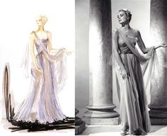 """Sketch by Edith Head. The final masterpiece worn by Grace Kelly in, """"To Catch A Thief"""" (1955)."""