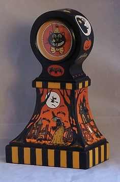 Hand Painted Halloween Clock Witch Ghost JOL Black Cat Bats Moon OOAK | eBay