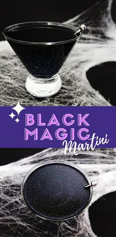 A Black Magic cocktail, black glitter Galaxy cocktail made with black that looks sinister but taste like a lime martini. With DIY for black vodka. // www.ElleTalk.com // #cocktail #cocktailrecipe #drinks #martini #cocktails