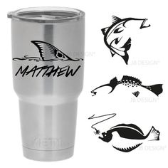 Personalized Vinyl Decal for Yeti Mugs - Redfish, Trout, Flounder and Others