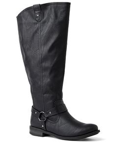 Wide width and wide calf riding boot is an on-trend finish to your new fall outfit. A stylish harness strap accents the ankle, while pull-up straps complete the opening. Elastic fabric on the back offers a custom stretch fit at the calf. Complete with a full-length zip opening on the side and a sturdy, thick heel. For your comfort, Catherines boots come in wide width sizes with stretchable calves to better fit the plus size woman. sonsi.com