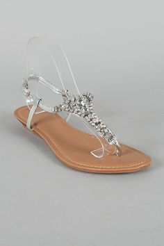 Lucie-1 Jeweled T-Strap Flat Sandal $21