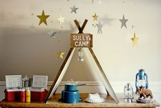 Camping themed table #kids #party