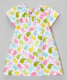 Another great find on #zulily! Lolly Gags Pink & Green Bird Cap-Sleeve Dress - Infant & Toddler by Lolly Gags #zulilyfinds