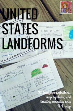 U.S. Landforms and geography book, students add landform definitions, simple illustrations, find and example in the U.S. and show the landform on a U.S. map. 3 booklet options.