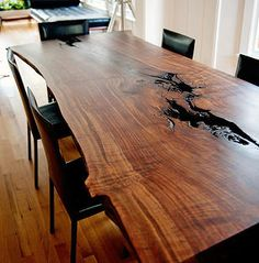 Beau Taylor Donsker: Live Edge Wood Slab Table...I Love This.