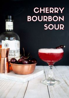 Sour Cherry Blossom—It's cherry season which means it's cherry cocktail time! Grab this Cherry Bourbon Sour recipe made with fresh cherries for a tart and slightly sweet spin on the classic Whiskey Sour. Pink cocktail and bourbon cocktail. Whiskey Sour, Cherry Whiskey, Bourbon Sour, Bourbon Cherries, Scotch Whiskey, Irish Whiskey, Easy Drink Recipes, Punch Recipes, Yummy Drinks