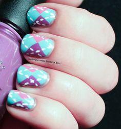 Argyle tape mani, nail art, preppy nails