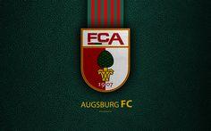 Download wallpapers Augsburg FC, 4k, German football club, Bundesliga, leather texture, emblem, logo, Augsburg, Bavaria, Germany, German Football Championships