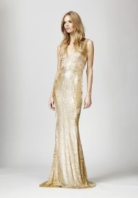 Beaded Gown - Gold Beaded Chiffon Gown.