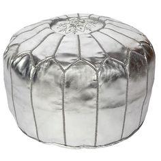 Silver Moroccan Pouf