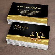 Customizable Attorney Lawyer Justice Elegant Black Gold Damask Business Cards