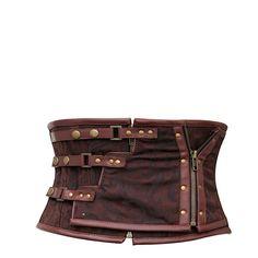 Brown Steel Boned Underbust Corset Steampunk Clothing