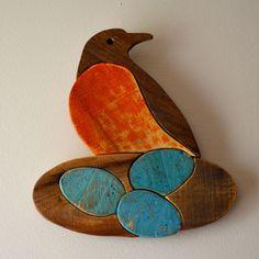 rustic robin bird on nest - handmade reclaimed wood, door hanger, garden decor, pallet wood wall art by AlmaBoheme on Etsy https://www.etsy.com/listing/238718035/rustic-robin-bird-on-nest-handmade