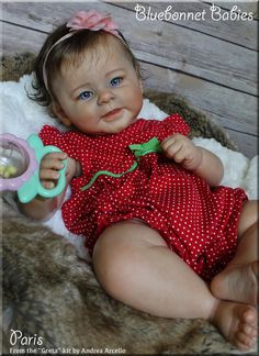 "Greta by Andrea Arcello, now reborn baby ""Paris"" by Bluebonnet Babies. On eBay only!"