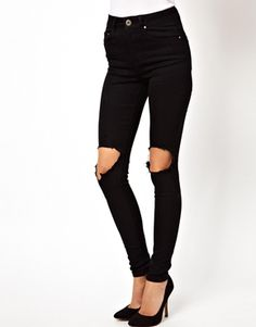 Image 1 of ASOS Ridley High Waist Ultra Skinny Jeans in Clean Black with Busted Knees