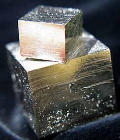 Amazing Natural Pyrite Cube Twin: photography by Loren Warn : Pixie Crystals : www.pixiecrystals.com Amazing TOTALLY Natural Pyrite Cube Twin - one large crystal and a smaller cube crystal perched and just attached to the larger crystal by one corner! #GemstoneSerendipity #gems #minerals #fossils #rocks