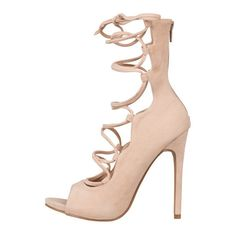 Allie Lace Up Heel (Nude) ($44) ❤ liked on Polyvore featuring shoes, pumps and heels
