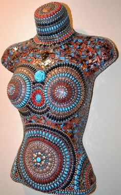 Southwestern Themed Female Mannequin Torso by FlutterflyMosaics