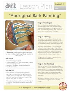 Free lesson plan on Aboriginal bark painting. Aboriginal Art For Kids, Aboriginal Education, Aboriginal Dot Painting, Aboriginal Culture, Art Education Lessons, Art Lessons Elementary, Teacher Education, Elementary Schools, Middle School Art