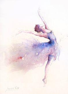 Original arte acuarela pintura de bailarina por Ewa por EwArtStudio