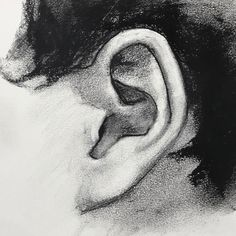 Charcoal drawing of an ear. This's part of my recent video workshop. See it on YouTube. #charcoaldrawing #graphite #watercolor #instaart #instaartist #instadaily #yongchen #portraiture #portraitdrawing