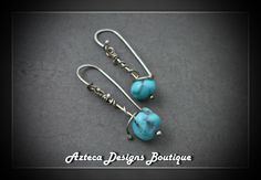 Campitos Treasure~ Argentium Silver Campitos Turquoise Artisan Earrings by AztecaDesignsBoutique, $58.00 USD