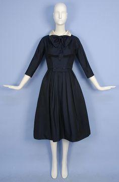 HARVEY BERIN WOOL DAY DRESS, 1950's.