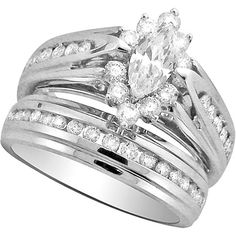 Keepsake One Love 1 Carat T.W. Diamond White Gold Bridal Set ...