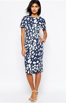 Modré midi šaty s animal potiskem HUSH HUSH náhled