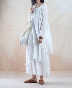 Plus size linen dress long maxi dress oversized by JulyFlower