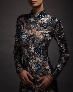 Each intricate detail of this gown is hand sewn to illustrate a midnight garden. Transparent sequins are strategically… Midnight Garden, Lauren Hutton, Reem Acra, Fashion Outfits, Womens Fashion, Nice Dresses, Amazing Dresses, Hand Sewing, Ready To Wear