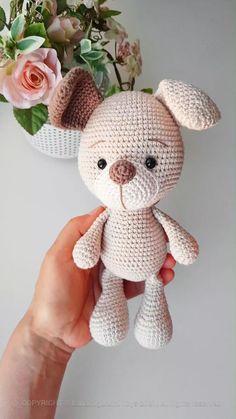Crochet Dog Patterns, Crochet Teddy Bear Pattern, Crochet Motif, Amigurumi Patterns, Knit Crochet, Crochet Crafts, Crochet Dolls, Crochet Projects, Crocheted Toys