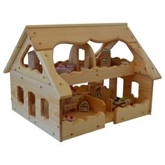 Our Maine Dollhouse, by Elves and Angels, Natural Wooden Toy Dollhouse designed specifically for multiple child play.The Natural Wooden Maine Dollhouse has open sides, low walls, and 6 large rooms