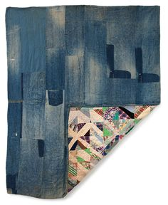"work clothes quilt  ""bars""  denim & cotton  gee's bend area  c. 1950 (FOR AMANDA- wouldn't this be great with all the boys old work clothes?)"