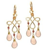 """Pink spinel and rose quartz onhammered curled wire, about 1-3/4"""" long. Available in 14k gold filled & sterling silver"""