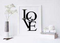 Love art prints, love print, love wall art, nursery print, nursery decor, love typography print, wall prints, black and white, digital print von sweetandhoneyprints auf Etsy