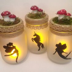 Fairy lights , Fairy lantern , Fairy lamp , Unicorn lamp , Fairy jar , Unicorn jar , Jar candle , Jar lamp , Fairy in a jar , Candle light  Beautiful light jars. I hand paint these myself . Price is for one. These would look magical in any girls room. They are run off a L.E.D light so no heat and very safe . Led light inc for UK customers only due to customs.. 900 ml Glass mason jar beautifully frosted with a hand painted image on. Decorated with jute and twine. Finished with a piece of…