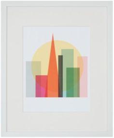 Tissue paper cityscape.