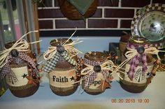 decorative crafts | Decorative mason jars | Mason Jar crafts & Ideas Rustic Crafts, Country Crafts, Primitive Crafts, Decor Crafts, Decorative Crafts, Americana Crafts, Diy Crafts, Mason Jar Projects, Mason Jar Crafts