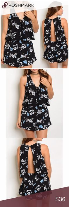 """Black Floral Open Back Romper Black Floral Print Open Back Romper featuring elastic waistband , a V neck and back button closure. 100% polyester. Measurements for small Length 31""""/ Bust 38""""/ waist 30""""/inseam 2"""". Lulupie Pants Jumpsuits & Rompers"""