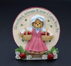 Paula's CMP Mini Plate Dimensionals 3D Grandma Plate Teddy Bear Collectible