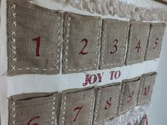 ADVENT CALENDAR BURLAP  Christmas Tradition, Hand Crafted, Hang it and Enjoy the Surprises