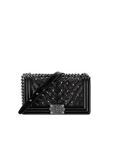 boy CHANEL flap bag, python, chevron embroideries & ruthenium metal-black - CHANEL