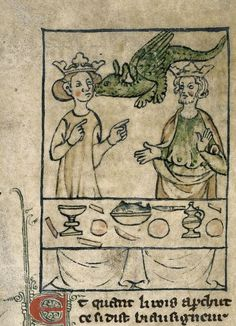 Detail of a miniature of Nectanebus in the form of a dragon, kissing Olympias while she is at the table with Philip, from Roman d'Alexandre en Prose, Northern France or Southern Netherlands, 1st quarter of the 14th century, Royal MS 20 A V, f. 7r
