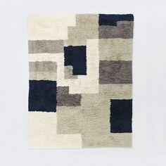 Abstract Shag Wool Rug, 9'x12', Neutral