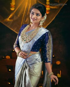 Nakshathra Nagesh Stunning Photoshoot by ChandruBharathy Wedding Saree Blouse Designs, Half Saree Designs, Silk Saree Blouse Designs, Blouse Neck Designs, Wedding Sarees, Bridal Sarees South Indian, Indian Bridal Outfits, South Indian Bridal Jewellery, Indian Bridal Fashion