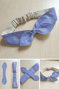 Diy Hair Scrunchies, Diy Hair Bows, Diy Headband, Baby Headbands, Sewing Clothes, Diy Clothes, Fabric Crafts, Sewing Crafts, Costura Fashion