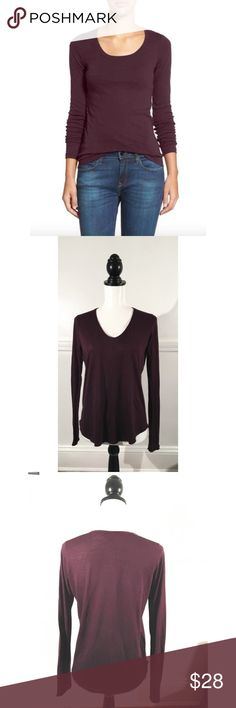 Vince Sz S Plum U Neck Long Sleeve Tee EUC 🔸Vince Sz S Plum U Neck Long Sleeve Tee EUC🔸Size Small🔸Plum deep purple color🔸Viscose polyester blend🔸Long Sleeve🔸Very soft thin jersey material🔸Bust 34-36-slight stretch🔸Round bottom hem🔸Semi sheer🔸Pre owned EUC, no rips stains or holes! Vince Tops Tees - Long Sleeve